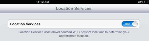 turn off location services option