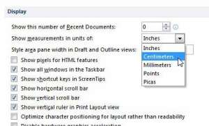 how to change margins in word 2010 from inches to centimeters