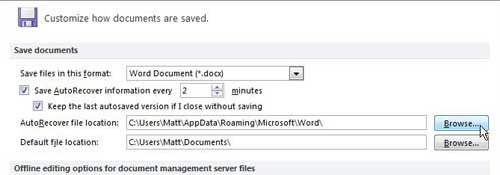 change autorecover file location in word 2010