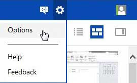 open skydrive options menu