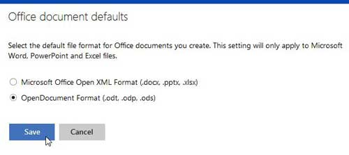 change defauly skydrive document type