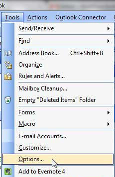 outlook 2003, tools then options