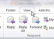 click view tab in outlook 2010