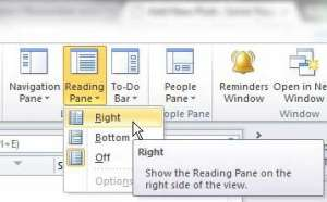 reading pane or preview panel is gone in outlook 2010