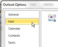 mail tab on outlook options window