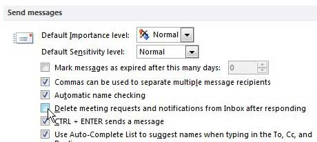 dont' delete meeting requests in outlook 2010