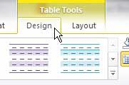 table tools design menu in word 2010