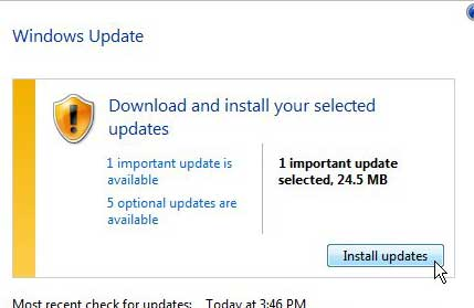 click the install updates button