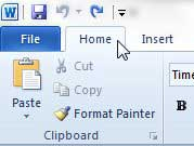word 2010 home tab