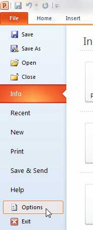 powerpoint options menu