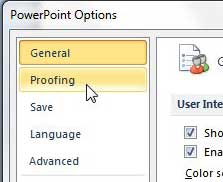 proofing tab on powerpoint options menu