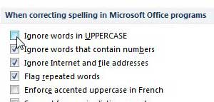 how to spell check upper case words in powerpoint 2010