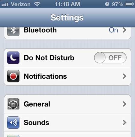 iphone 5 general menu