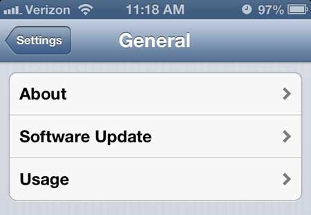 iphone 5 usage menu