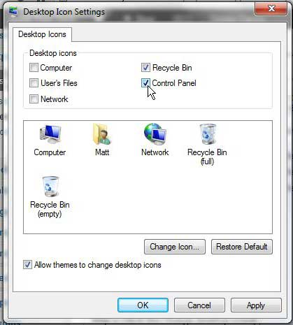 how to create a control panel icon on the desktop in windows 7