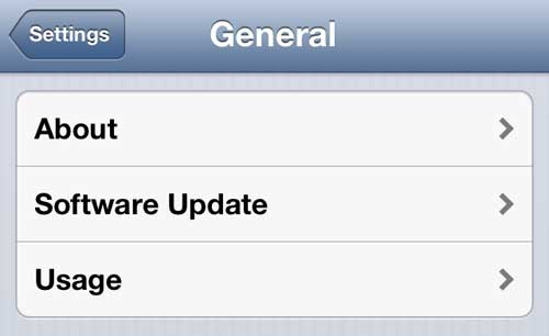 usage menu on iphone 5