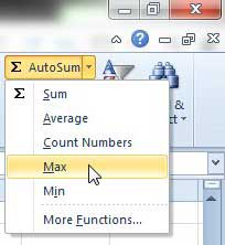 how to do the max function in excel 2010