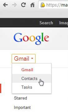 open google account contacts menu