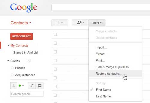 how to restore google account contacts
