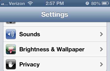 iphone 5 brightness and wallpaper menu