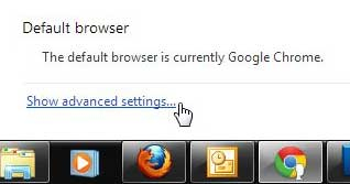 show advanced settings link in chrome