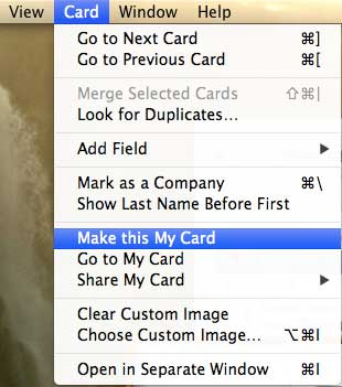 how to change the contact card on your macbook air