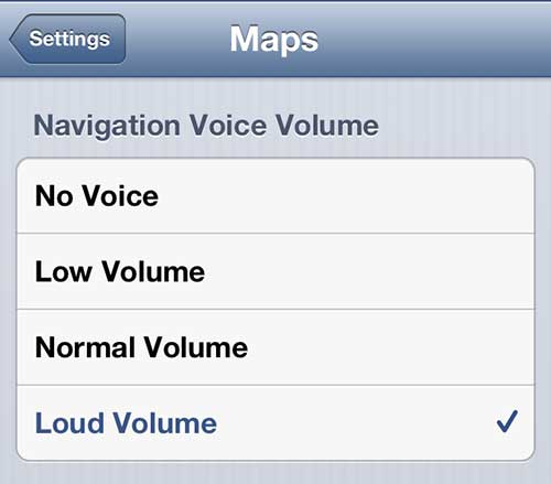 how to change the iphone 5 maps navigation volume