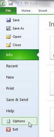 open the excel 2010 options menu