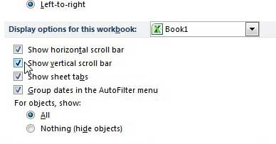 how to view the scroll bar in excel 2010