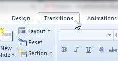 click the transitions tab