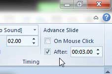 how to set time between slides in powerpoint 2010