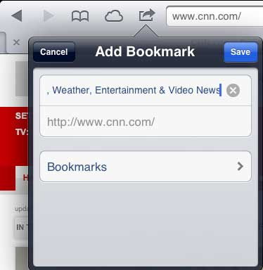 select the bookmarks option