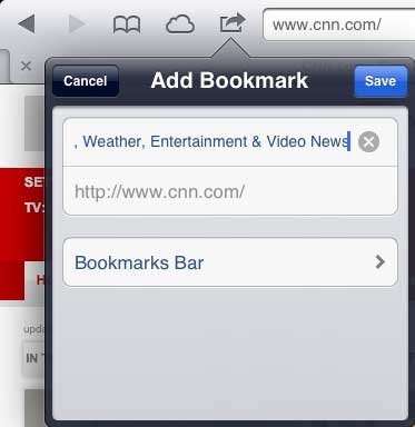 save the new bookmark