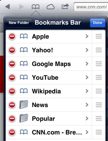 touch the edit button on the bookmarks menu