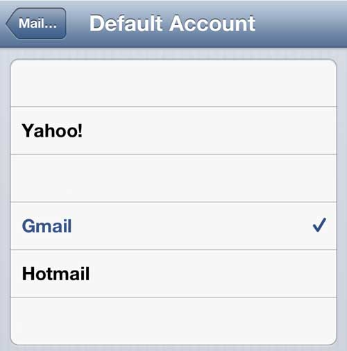 how to set the default email account on the iphone 5