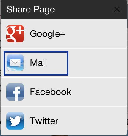 how to email a link from the chrome iphone app