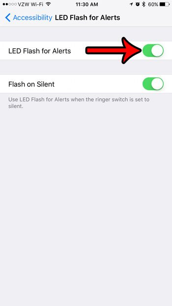 how to enable the led flash for alerts on an iphone