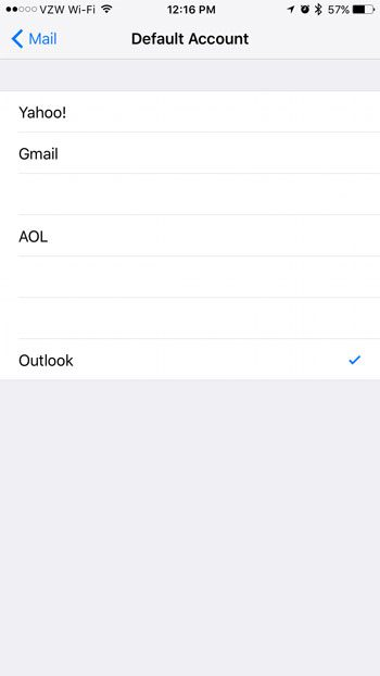 how to change the default email account on an iphone