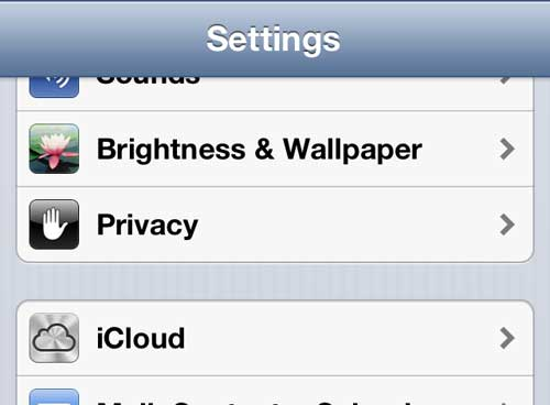 tap the iCloud option