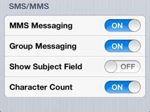 how to show the character count on iphone 5 messages