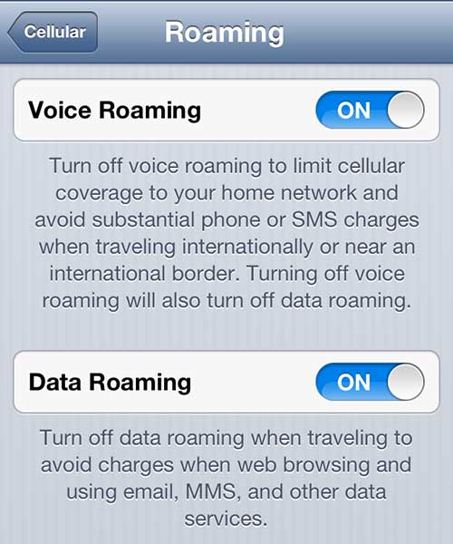 how to turn on data roaming on the iphone 5