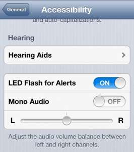 touch the LED flash for alerts button