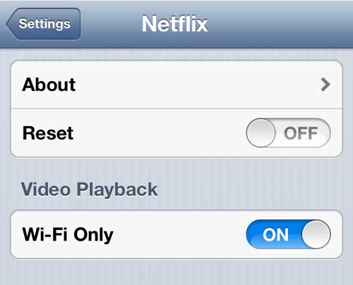only watch Netflix over WiFi on your iPhone 5