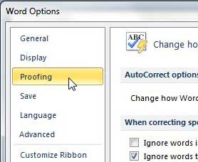 click the Proofing option