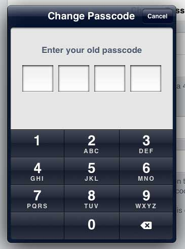Enter the old passcode again