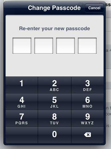 Confirm the new passcode