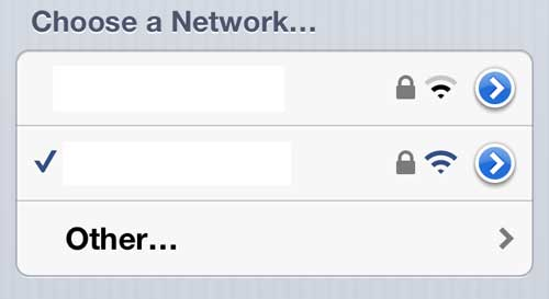 Choose the network for which you need to change the password