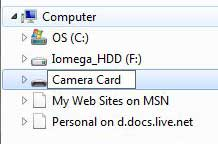 Type your preferred name for the memory card