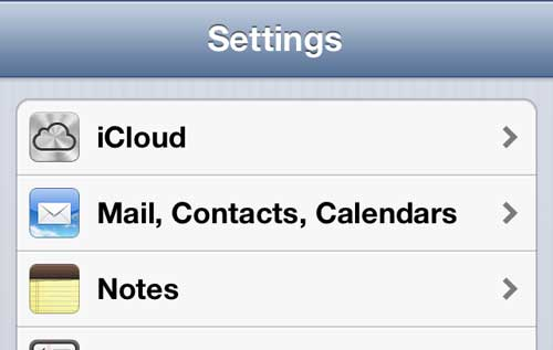 """Select the """"Mail, Calendars, Contacts"""" option"""