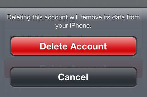 Confirm that you want to delete the email account